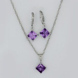 Jewelry - Genuine Amethyst Necklace and Earrings Set